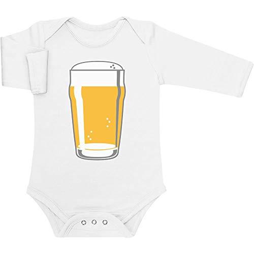Bier Bayrisches Girl Kostüm - Oktoberfest Baby - Mass Bier Krug Baby Langarm Body 50/56 (0-3M) Weiß