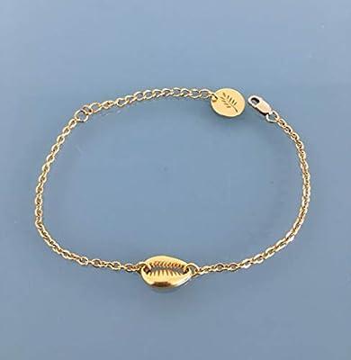 Bracelet femme gourmette coquillage plaqué or 24 k, bracelet doré, idée cadeau, bracelet coquillage, bijoux cadeaux, bijou femme or