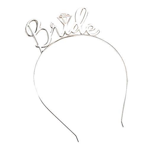 CANDLLY Stirnband Damen, Kopfbedeckung Zubehör Braut einfache Diamant Krone Haarschmuck Stirnbands Hochzeit Zubehörs Kopfschmuck (Silber,One size)