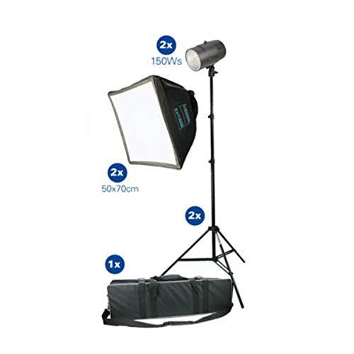 Dorr Studioblitz-Set mit Ständer, Softboxen, 150 W, Schwarz, 2 Stück Kit 150w Flash
