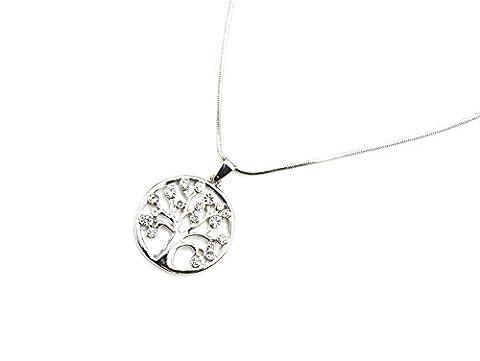 cc1619d Halskette feine Kette und Anhänger Kreis Baum des Lebens Durchbrochenes Metall Strass Silber