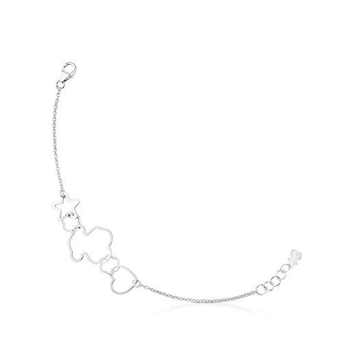 Imagen de tous pulsera cadena mujer plata de primera ley con siluestas estrella, corazón y oso, largo 17,5 cm