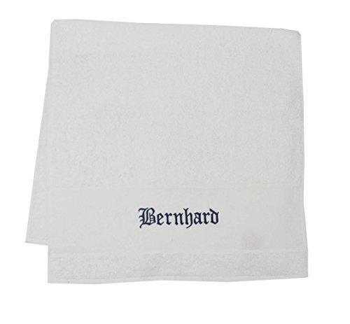 S.B.J - Sportland Premium Duschtuch Porto 70x140 cm Farbe Weiss aus Frottee, 500 g/m2 mit Namensbestickung/Bestickt mit Namen oder Wunschtext