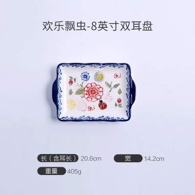 (Platten, Keramik Geschirr, Steak Platten, Stil türkische Retro Fruit Square Net rote Platte, Joyful Marienkäfer-11 Zoll Doppelohr)