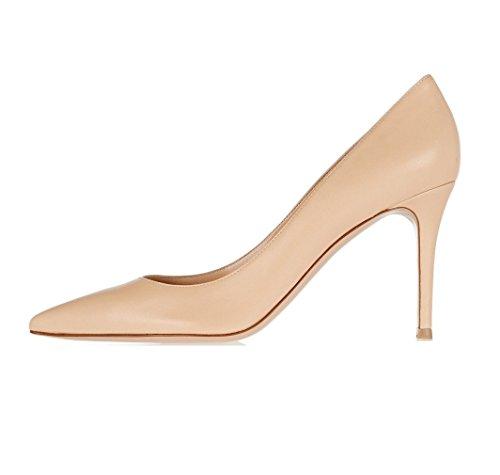 Soireelady Donna Pointed Toe Scarpe Stiletto Shoes,Scarpe Con Tacco 8 CM Beige EU38