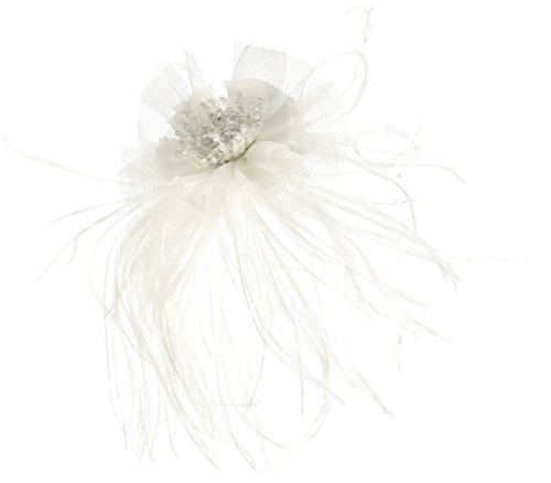 Lillian Rose Marabou Feather Hair Clip, 6-Inch, White