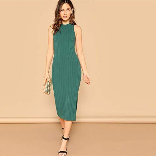 DELI Grün Elegant Solid Split Side Rib-Knit Ausgestattet Tank Sleeveless Kleider Frauen Plain Mantel Sommer Bleistift Kleid -
