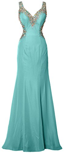 MACloth Women V Neck Crystal Long Prom Dress Sexy Open Back Evening Formal Gown Turquoise