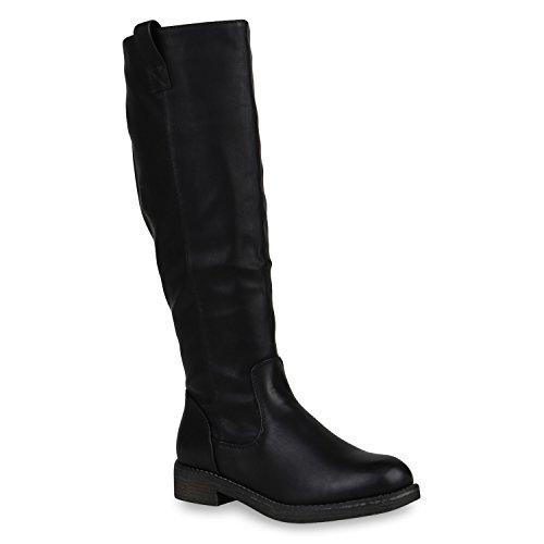 Klassische Stiefel Damen Schuhe Gefüttert Boots Profilsohle 148002 Schwarz Arriate 40 Flandell