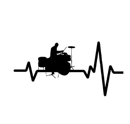 Autoaufkleber,Herzfrequenz Linie Batterie Rock 15x8cm PVC DIY Motorrad Auto Aufkleber Kunst Zubehör Kreative Spiel Stil Fenster Helm Aufkleber Benutzerdefinierte Geschenk 5 Stücke -