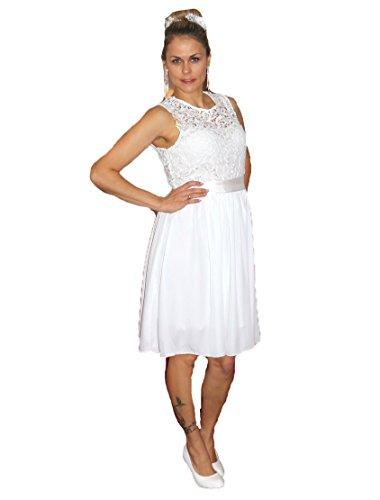 Brautkleid Spitze kurz Hochzeitskleid S M L XL XXL XXXL XXXXL Braut Kleid Standesamt Weiß (36)