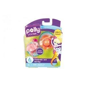 Polly Pocket T3550 Splashtopia World - Figuras de paraguas y sombrero, diseño de rayas