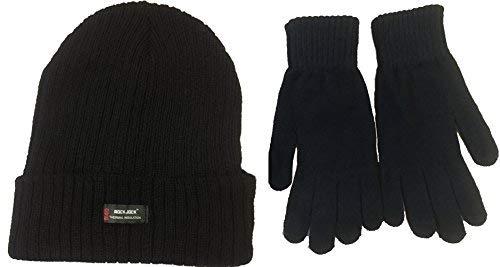 Bonnet noir par Rockjock en Thinsulate (style: grosse maille côtelée avec doublure Rockjock R40) et paire de gants par Handy TFNI-THINSULATE-HANDY