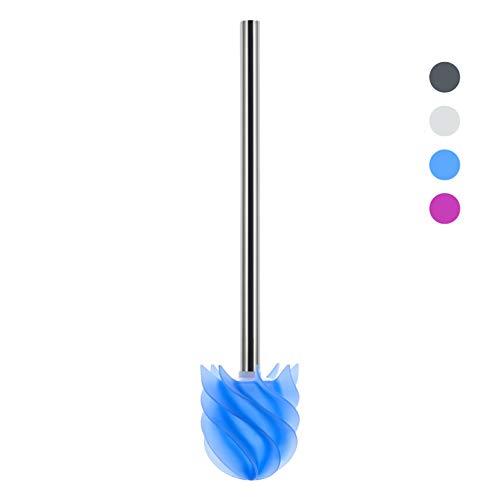 LOOMAID Silikon WC-Bürste mit Lotuseffekt - hygienische Edelstahl Ersatz-Toilettenbürste / Klobürste (Blau)
