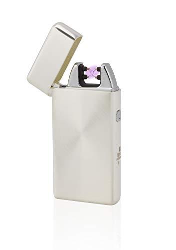 TESLA Lighter T05 Lichtbogen Feuerzeug, Plasma Double-Arc, elektronisch wiederaufladbar, aufladbar mit Strom per USB, ohne Gas und Benzin, mit Ladekabel, in Edler Geschenkverpackung, Silber geb&uumlrstet