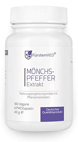 FürstenMED® Mönchspfeffer Kapseln mit Extrakt 5:1 - Echter Vitex Agnus Castus - 180 Vegane Kapseln aus Deutschland ohne Zusatzstoffe