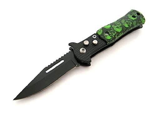 KOSxBO® kleines Taschenmesser Klingenlänge 6,5 cm Totenkopf Edition grün schwarz Messer Klappmesser Einhandmesser Outdoormesser