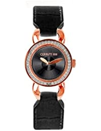 Cerruti 4340779 - Reloj analógico de mujer de cuarzo con correa de piel negra - sumergible a 30 metros