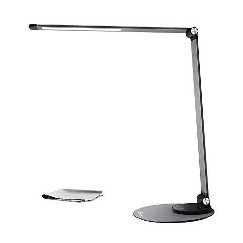 Lámpara de escritorio LED TaoTronics ultra-delgada, aluminio aleado, protección a la vista, 6 Brillo...