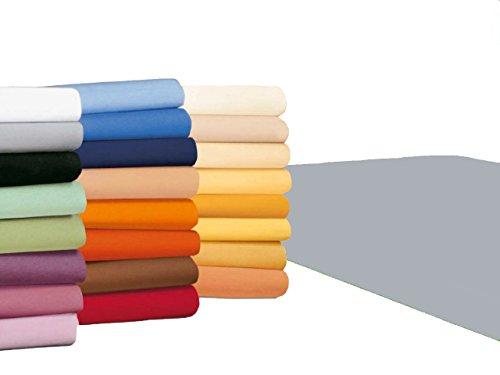 badtex24 Spannbettlaken 90 100 x 200 Spannbetttuch Bettlaken Jersey 100% Baumwolle 20 Farben Hellgrau 90x190-100x200cm
