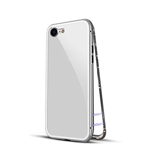 QINPIN Für iPhone 7/8 Magnetische Adsorption Metallhülle + Gratis gehärtetes Glas Silber