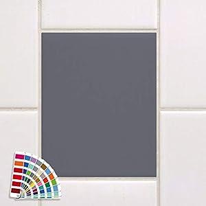 GRAZDesign Fliesenaufkleber 20x25cm grau matt Bad/Küche einfarbig Fliesenfolie Klebefliesen Klebefolie auf Fliesen 10 Stück