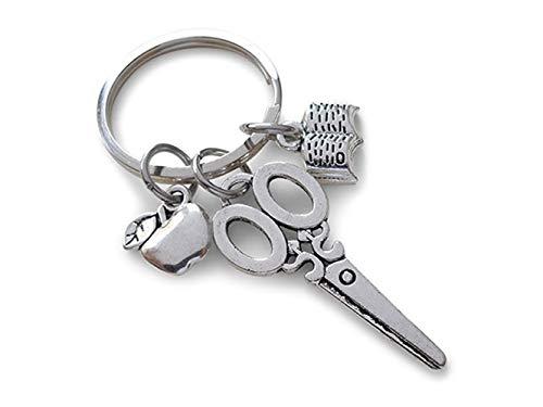 (Auto Schlüsselanhänger, Apple Schere Buch Lehrer Tag Anhänger Schlüsselbund für Autoschlüssel Handtasche Tasche Schlüsselanhänger Geschenk (Silber) für Geschenk)