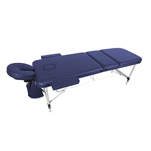 Mari Lifestyle Massagetisch | Einstellbare & Leichte Aluminium Massageliege 3 teilig | Unterstützt Haltung & Stabilität | Für Spa, Masseure, Friseure, Tätowierer & Privatnutzung | 186 x 60cm - 10,8 kg (Lila Tragbare Massageliege)
