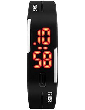 Damen Herren Unisex Sport-Armband-Touch-Digital-Armbanduhr Damenuhr LED Digital Kalender Schwarz 1119 …