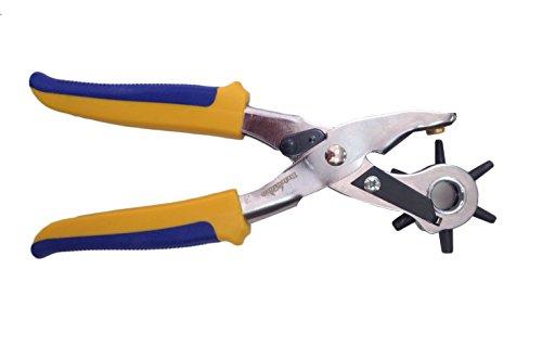 Preisvergleich Produktbild Starke Lochzange Gürtelzange Ösenzange (2,5-5mm) mit 6 wechselbaren Lochpfeifen und Bremse. Zange für Leder, Papier, Textil- und Kunststoffmaterial.