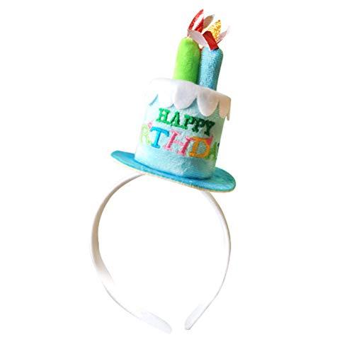 BESTOYARD Fiesta de cumpleaños Diadema Pastel de cumpleaños Feliz con Velas Diadema Disfraz Accesorio de Sombreros para Fiesta de cumpleaños (Azul)