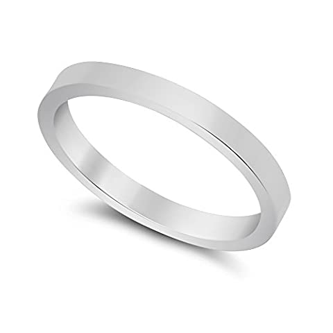2mm Solid 925 Sterling Silver Flat Edged Italian Crafted Wedding Band, Size R 1/2 + Jewelry Polishing Cloth