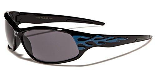Khan Uomo Rettangolo Wrap, perfetto per sport o guida protezione totale UV400Free beachhutsunglasses Astuccio Incluso multicolore GLOSSY BLACK/BLUE FLAMES