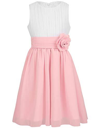 YiZYiF Mädchen Chiffon Kleider Blumenmädchen Kleid Hochzeit Festzug Abendkleid Brautjungfer Kommunionkleid Festzug Partyskleid Weiß&Rosa 152