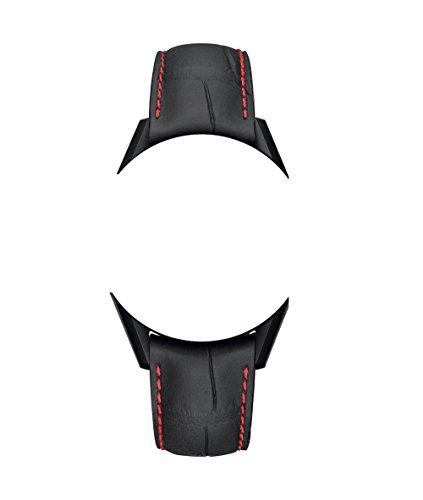 Cinturini in pelle di alligatore nero / rosso 22/18 mm con cuciture rosse...