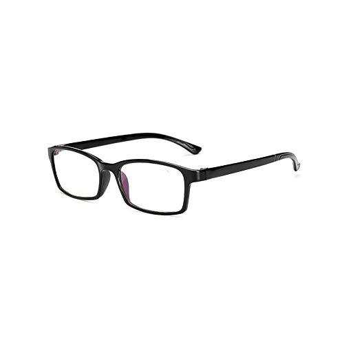 Flexibel TR90 Lesebrille Anti-Blaulicht Sehhilfe Federn-Scharnier Lesehilfe Unisex Lesegerät mit Rechteckigen Gläsern(Helles Schwarz,+2.5)