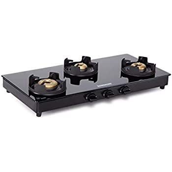 Sunshine Royal Black 3 Burner Toughened Glass Gas Stove