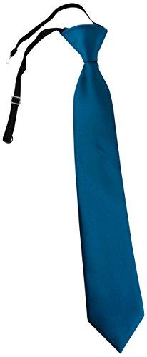 TigerTie Kinderkrawatte dunkles petrol Uni - Krawatte vorgebunden mit Gummizug