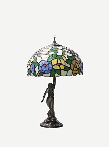 Keyhome Lámpara de mesa con base de latón estilo clásico con mujer ...
