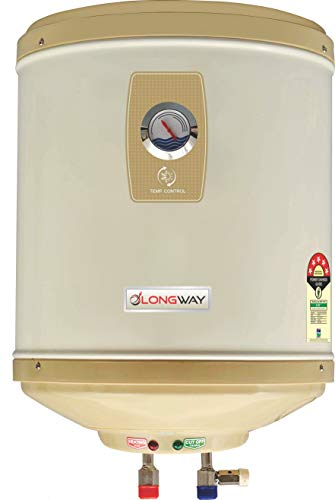 LONGWAY Stainless Steel 5 Star Water Geyser with Temperature Meter, Abs Body, HD ISI Element and Capsule Type ss Tank, 25 l (Ivory)