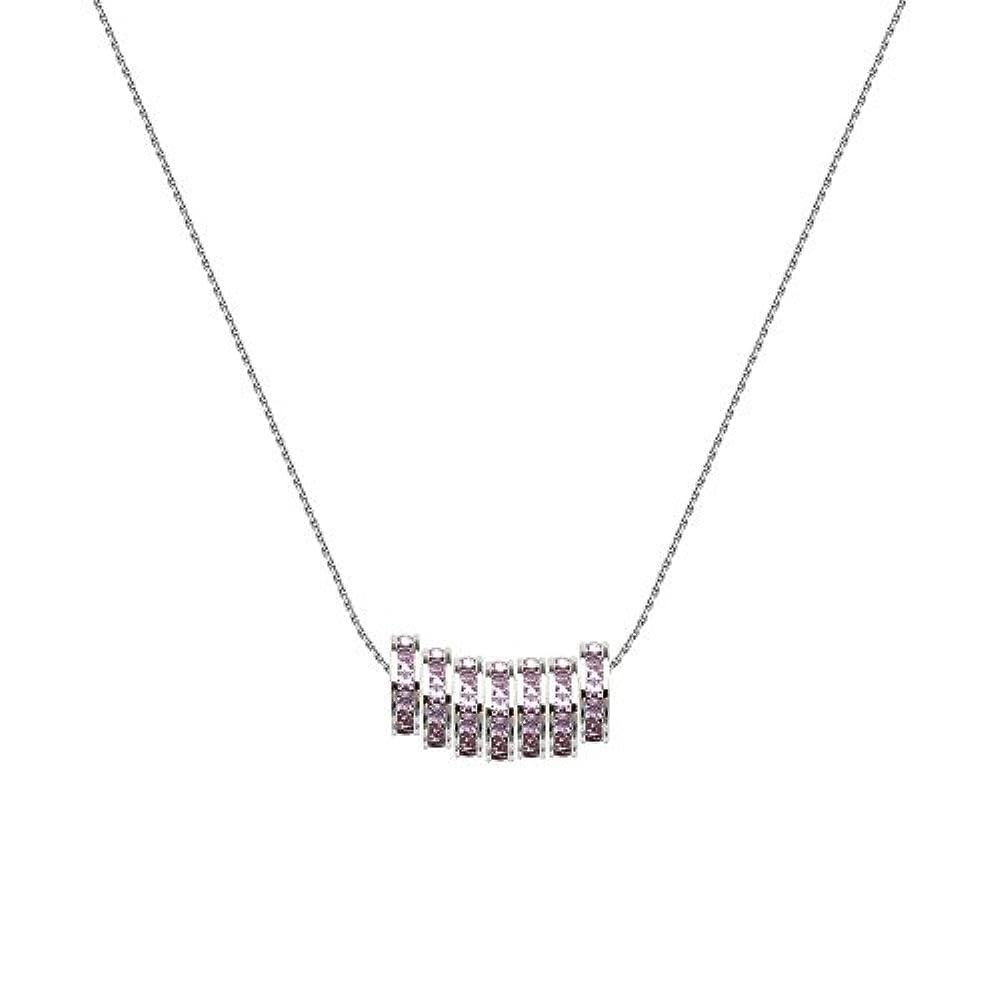 Sterling Silber rhodiniert Set von 7violett Kristall Perlen Lite Seil Kette Halskette–46centimete