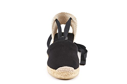 "VISCATA Escala 2.5"" Heel, Soft Ankle-Tie, Closed Toe, Classic Espadrilles Heel Made in Spain Black"