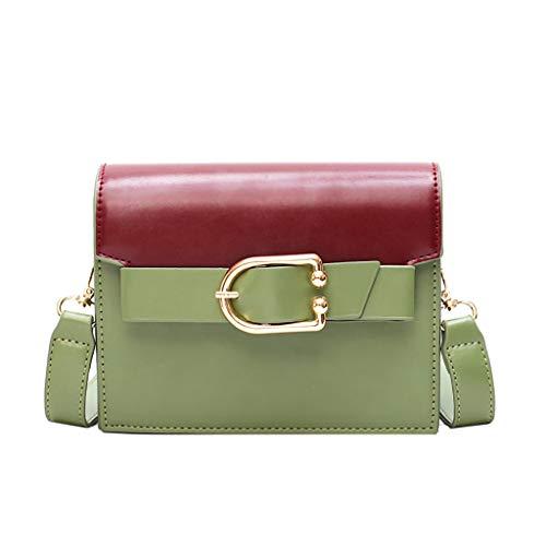 TIFIY Damen Rucksack Damenmode Niet Pure-Color Cover Retro Umhängetasche Flap Bag Arbeits Täglich Bankett Elegant Tasche(Grün) -