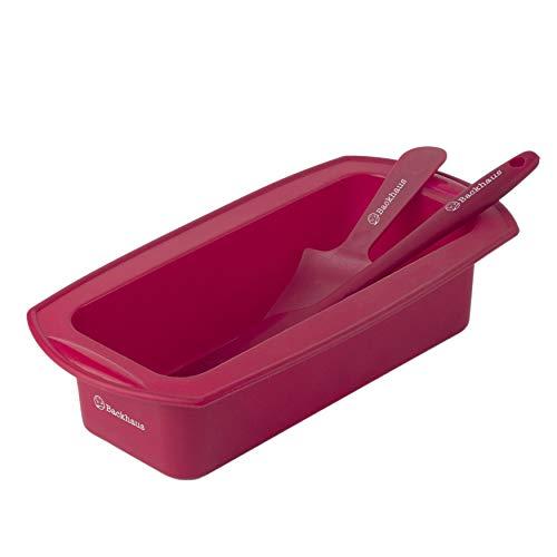 m mit Teigschaber und Kuchenmesser, Antihaft-Kastenform aus Platinum Silikon | Medium - Rot ()