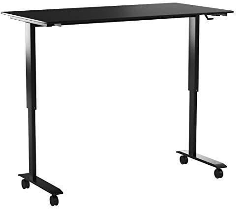 Stand Up Desk Store Höhenverstellbarer Schreibtisch (Rahmen schwarz/matt-schwarz, Schreibtisch Länge: 150cm)
