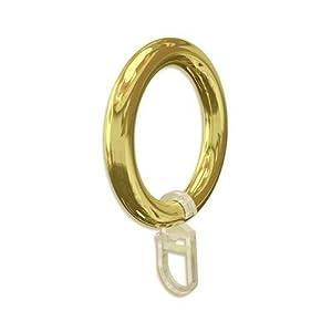 Gardinenring/Vorhangring Kunststoff, Gold mit Faltenhaken, für Stilstangen Ø 28mm, 20 Stück