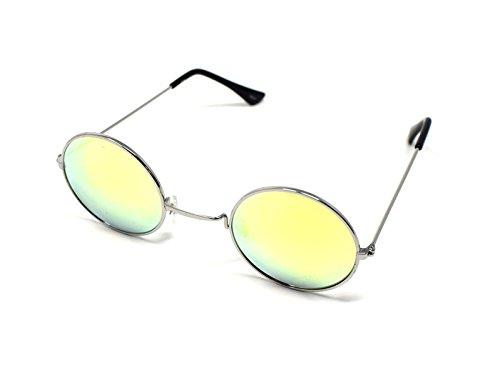 UltraByEasyPeasyStore Silber Rahmen mit Gold Linsen Klein Stil John Lennon Sonnenbrille Erwachsene Männer Frauen Retro Runde UV400 Elton Vintage Brille Unisex