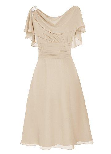 Dresstells Damen A-Linie Kleid champagnerfarben
