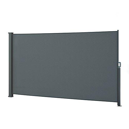 OSKAR Seitenmarkise Sichtschutz Sonnenschutz Seitenrollo Markise Anthrazit (180x350cm)