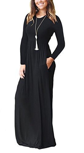 VIISHOW Frauen-lange Hülsen-lose einfache Maxi kleidet beiläufige lange T-Shirt Kleid mit Taschen Schwarz
